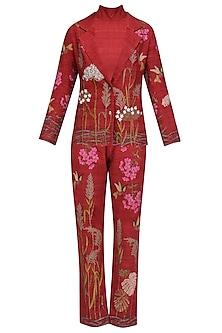 Red Embroidered Saundarya Srishti Pants and Jacket Set by Vineet Rahul