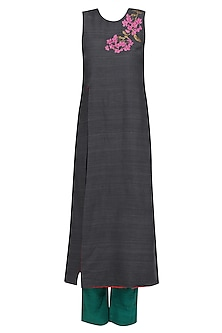 Charcoal Grey Embroidered Sonphool Sleeveless Tunic by Vineet Rahul