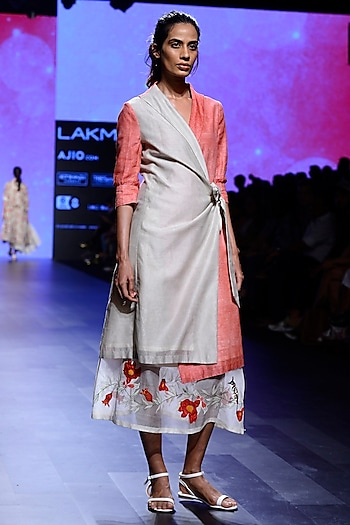 Ivory and Pink Block Print Wrap Tunic and Skirt Set by Vineet Rahul
