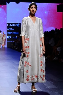 Ivory Block Print Tie Up Tunic and Pants Set by Vineet Rahul