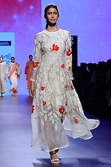 Ivory Hand Embroidered Dress by Vineet Rahul