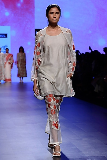 Ivory Hand Embroidered Pantsuit and Tunic Set by Vineet Rahul