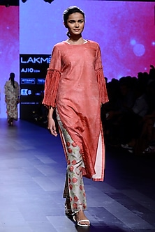 Red Block Printed Tunic and Pants Set by Vineet Rahul