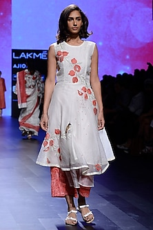Ivory Hand Embroidered Flared Tunic and Layered Pants Set by Vineet Rahul