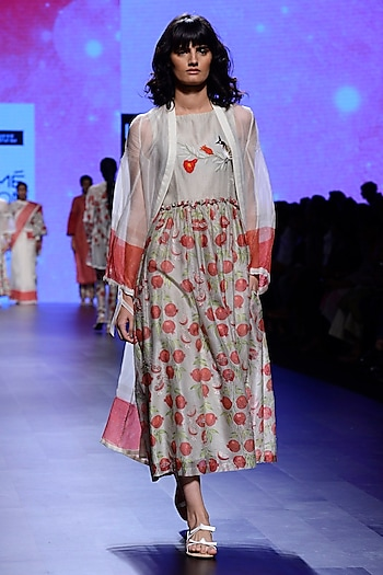 Ivory and Red Block Print Tunic and Cape Set by Vineet Rahul