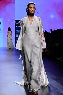 Ivory Floral Embroidered Cape with Tunic Dress by Vineet Rahul