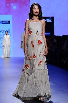 Ivory Block Print Crinkled Hem Dress by Vineet Rahul