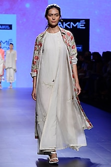 Ivory Block Print Shirt, Pants and Bralette Set by Vineet Rahul