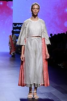 Ivory and Red Block Print Tunic and Pants Set by Vineet Rahul