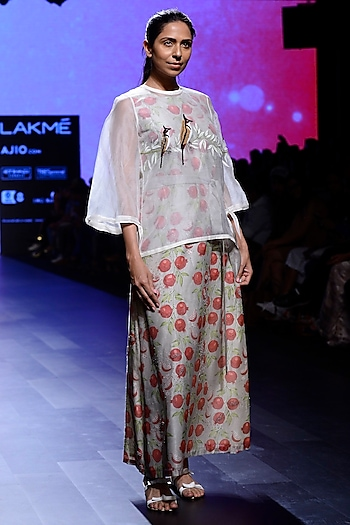 Ivory Block Print Top and Tunic Set by Vineet Rahul