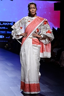 Ivory Bomber Top and Saree set by Vineet Rahul