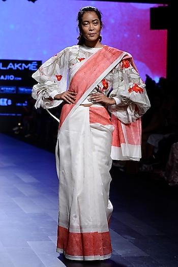 Ivory Rib Tunic, Braletts and Pants Set by Vineet Rahul