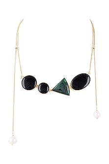 Gold Plated Handmade Malachite & Black Onyx Necklace by Varnika Arora