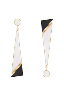 Gold Plated Handmade White MOP, Pearl & Black Onyx Earrings by Varnika Arora