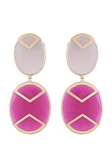 Gold Plated Handmade Pink Quartz & Grey Onyx Earrings by Varnika Arora