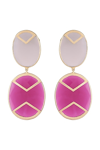 Gold Plated Handmade Pink Quartz & Grey Onyx Earrings by Varnika Arora