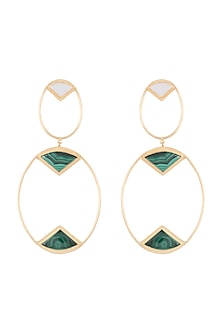 Gold Plated Handmade Malachite & MOP Long Earrings by Varnika Arora