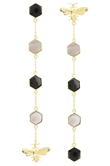 Gold Plated Black Onyx and Mother Of Pearl Beeline Earrings by Varnika Arora