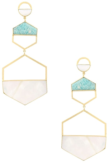 Gold Plated Amazonite and White Mother of Pearl Earrings by Varnika Arora