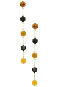 Gold Plated Black Onyx and Bear Quartz Earrings by Varnika Arora