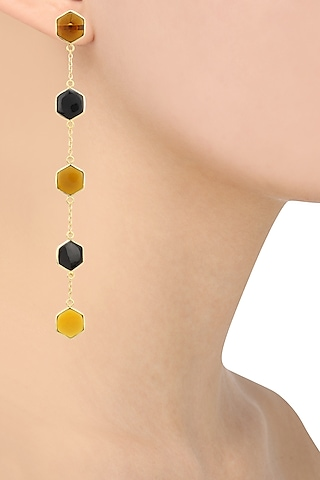 Gold Plated Black Onyx and Bear Quartz Earrings by Varnika Arora