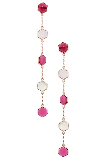 Rose Gold Plated Hydro Pink Quartz and White Mother of Pearl Earrings by Varnika Arora