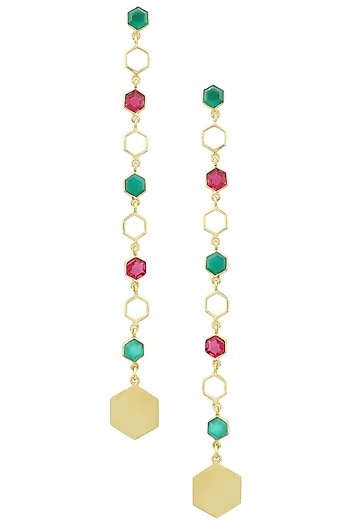 Gold Plated Hydro Pink Quartz and Green Onyx Bee Earrings by Varnika Arora