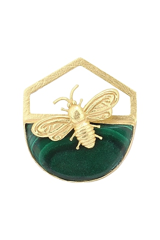 Gold Plated Malachite Stone Bee Ring by Varnika Arora