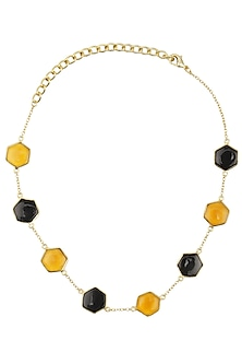 Gold Plated BLack Onyx and Hydro Bear Quartz Choker by Varnika Arora
