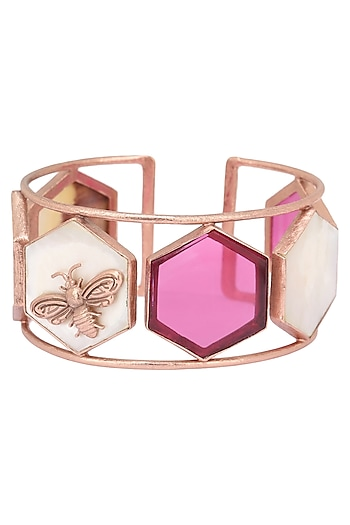 Rose Gold Plated Hydro Pink Quartz and White Mother Of Pearl Hand Cuff by Varnika Arora