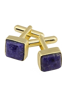Gold Plated Sodalite Stone Statement Cufflinks by Varnika Arora