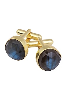 Gold Plated Cut Labrodarite Statement Cufflinks by Varnika Arora