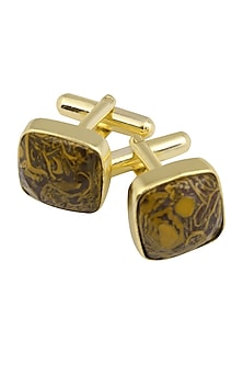 Gold Plated Cut Marrium Statement Cufflinks by Varnika Arora