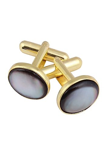 Gold Plated Black Mother of Pearl Statement Cufflinks by Varnika Arora