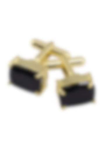 Gold Plated Cut Black Onyx Statement Cufflinks by Varnika Arora