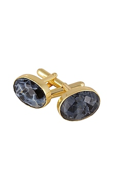 Gold Plated Petersite Semiprecious Stone Cufflink by Varnika Arora