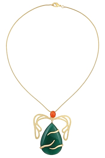Gold Plated Green Onyx and Carnelian Pendant Necklace by Varnika Arora