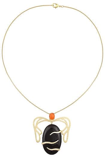 Gold Plated Black Onyx and Carnelian Pendant Necklace by Varnika Arora
