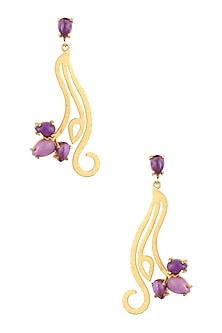 Gold Plated Amethyst and Phosphosiderite Statement Earrings by Varnika Arora