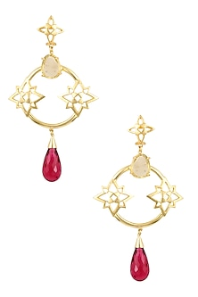 Gold Plated Lemon Quartz and Pink Quartz Stone Statement Earrings by Varnika Arora