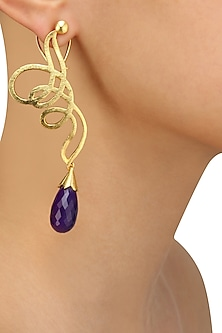 Gold Plated Purple Onyx Stone Earrings by Varnika Arora