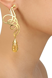 Gold Plated Bear Quartz Statement Earrings by Varnika Arora