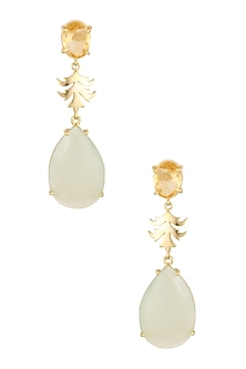 Gold Plated Citrine and Aqua Onyx Stone Earrings by Varnika Arora