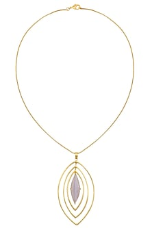 Gold Plated Chalcedony Stone Pendant Necklace by Varnika Arora