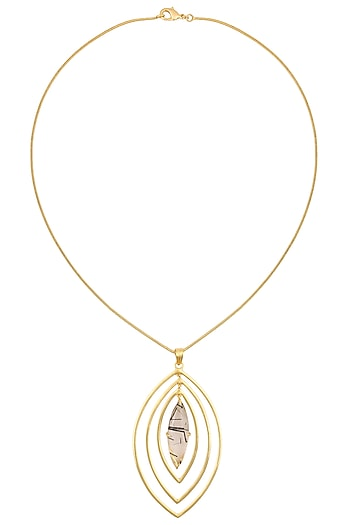 Gold Plated Black Rutile Stone Pendant Necklace by Varnika Arora