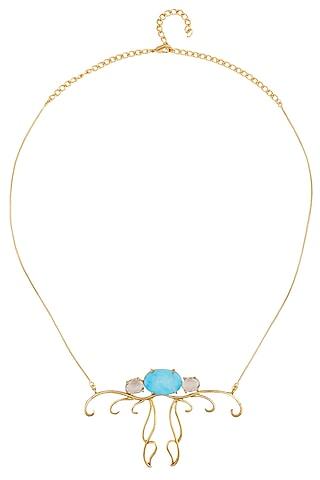 Gold Plated Turquoise Semiprecious Stone Pendant Necklace by Varnika Arora