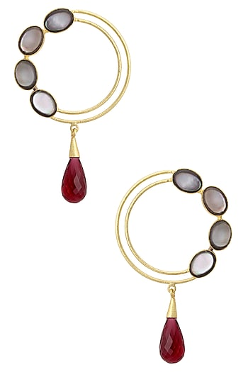 Gold Plated Empress's Pink Quartz and Mother Of Pearls Earrings by Varnika Arora