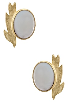Gold Plated Empress's Black Mother Of Pearls Gold Plated Studs by Varnika Arora