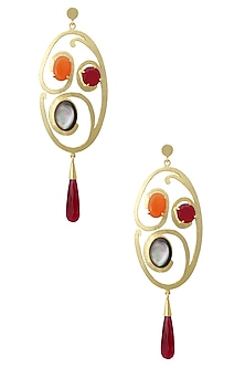 Gold Plated Empress's Radiant Swirl Earrings by Varnika Arora