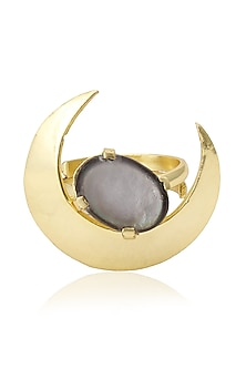 Gold Plated Queen's Black Mother Of Pearls Ring by Varnika Arora